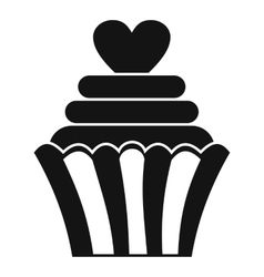 Love cupcake icon simple style vector