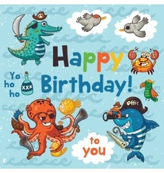 Lovely happy birthday card with pirates vector