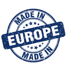 Made in europe blue grunge round stamp vector