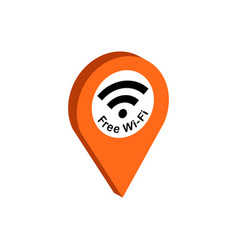 map pointer with wi-fi symbol flat isometric icon vector image
