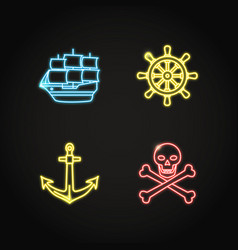 marine collection of pirate and nautical icons in vector image