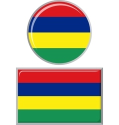 Mauritius round and square icon flag vector