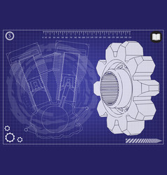 motorcycle engine and cogwheels vector image