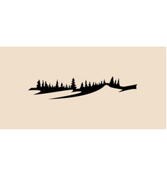 mountain and forest icon mountain pine tree vector image