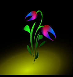 neon tulip for greeting card vector image