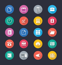 office supplies simple color icons vector image