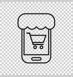 online shopping icon in transparent style vector image