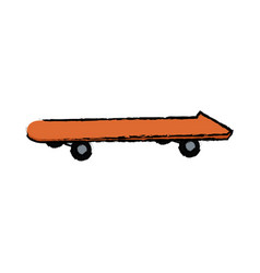 Orange skateboard board sport element vector