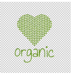organic green heart transparent background vector image