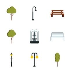 Park things icons set flat style vector image