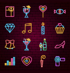 party neon icons vector image