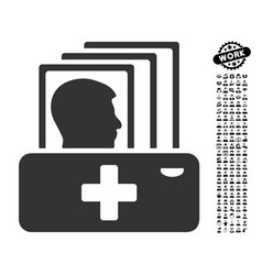 Patient catalog icon with professional bonus vector