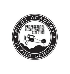Pilot academy emblem logo template flying school vector