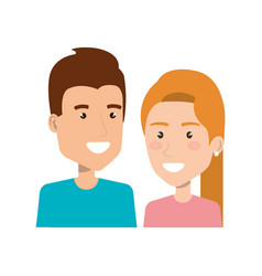 Portrait young couple smiling character people vector
