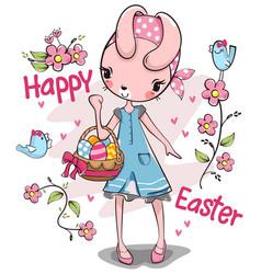 Pretty rabbit girl carrying basket easter eggs vector