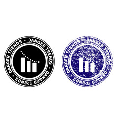 Recession danger trends stamp with dirty style vector