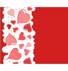 Red background with hearts for Valentine s Day vector image