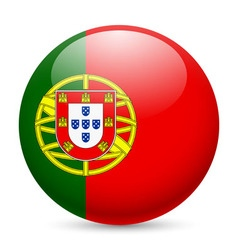 Round glossy icon of portugal vector