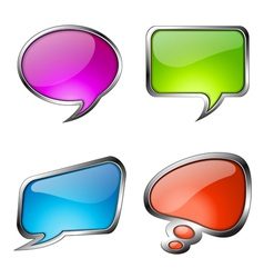 set colorful glass speech bubbles vector image