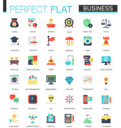 set flat business icons vector image