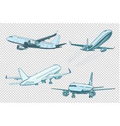 set passenger airplanes vector image