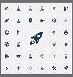 Set simple creative thinking icons elements vector