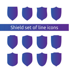 Shield logo symbol icon set with outline line vector