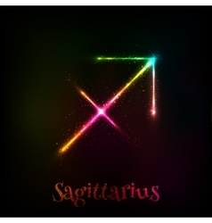Shining neon zodiac Sagittarius symbol vector