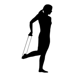 Silhouette of woman doing exercises vector image vector image