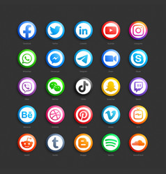Social media network 3d web icons set vector