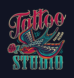 tattoo studio vintage colorful emblem vector image