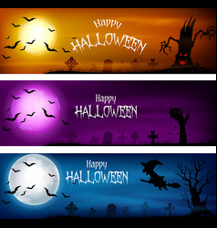 Three sets of halloween banners vector