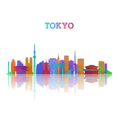 Tokyo skyline silhouette in geometric style vector