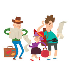 traveler people searching right direction on map vector image