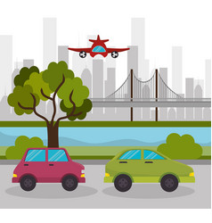 Two car urban highway airplane design vector