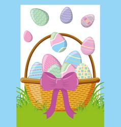 wicker basket happy easter eggs vector image