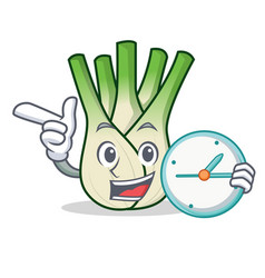 With clock fennel character cartoon style vector