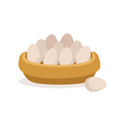 Wooden bowl full of fresh farm eggs poultry vector