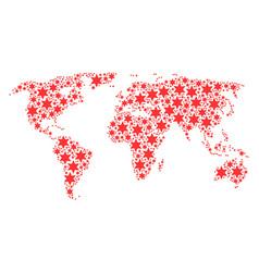 Worldwide atlas mosaic of fireworks star items vector