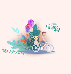 Young man with his daughter riding bicycle vector