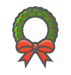 christmas wreath with bow filled outline icon vector image vector image