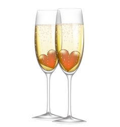 glass of champagne with heart vector image vector image