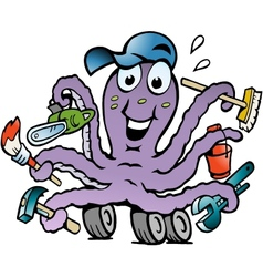 Hand-drawn of an Happy Busy Octopus Handyman vector image vector image