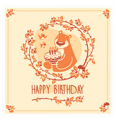 happy birthday greeting card with cute bear vector image vector image