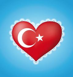 Heart shape flag of Turkey vector image