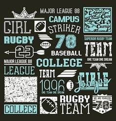 Rugby and baseball college team design elements vector image vector image
