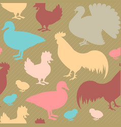 seamless pattern with farm birds vector image vector image