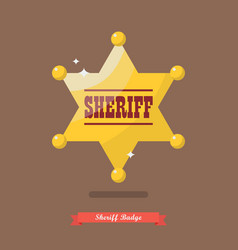 sheriff badge in flat style vector image