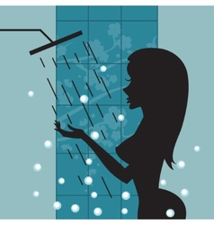 Silhouette of beautiful girl taking a shower vector image vector image