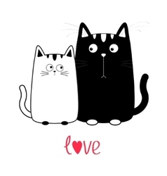 Cute cartoon black cat boy and white girl Kitty vector image